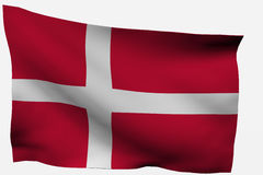 Denmark. Danish 3d flag isolated on white background Stock Photo