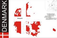 Denmark. Flag and area vector illustration royalty free illustration