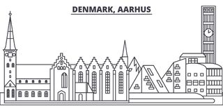 Denmark, Aarhus line skyline vector illustration. Denmark, Aarhus linear cityscape with famous landmarks, city sights. Vector design landscape stock illustration