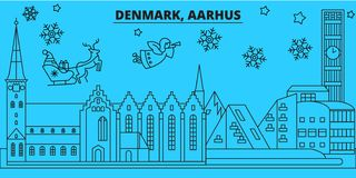 Denmark, Aarhus winter holidays skyline. Merry Christmas, Happy New Year decorated banner with Santa Claus.Denmark. Denmark, Aarhus winter holidays skyline vector illustration