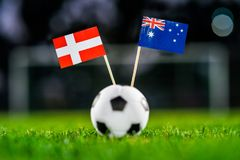 Denmark - Australia, Group C, Thursday, 21. June, Football, Worl. D Cup, Russia 2018, National Flags on green grass, white football ball on ground royalty free stock photography