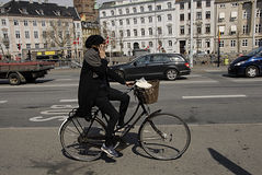 DENMARK_bicycle rider talks Stock Photos