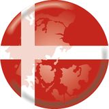 Denmark botton. Artistic illustration mixing the map and the flag of denmark Royalty Free Stock Images