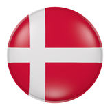 Denmark button. 3d rendering of Denmark flag on a button Stock Photography