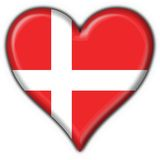 Denmark button flag heart shape Royalty Free Stock Image