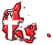 Denmark button flag map shape Royalty Free Stock Image