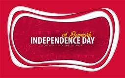 denmark Cartolina d'auguri di festa dell'indipendenza stile del taglio della carta illustrazione vettoriale