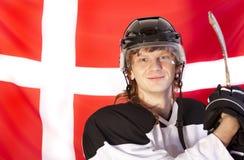 denmark chorągwiany hokeja lód nad graczem Fotografia Stock