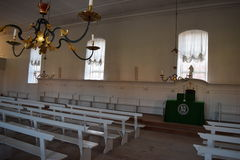2015. Denmark. Christiansfeld. UNESCO. Church hall. The photo shows, the alter in the church hall. To the right of the altar the sisters are sitting, to the Stock Image