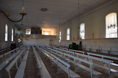 2015. Denmark. Christiansfeld. UNESCO. Church hall. The photo shows, the church hall. To the right of the altar the sisters are sitting, to the left the Royalty Free Stock Images