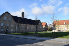 2015. Denmark. Christiansfeld. UNESCO: Church. The photo shows, the church and the church square in Christiansfeld Stock Photo