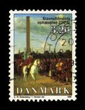 Painting by danish painter Christoffer Wilhelm Eckersberg. DENMARK - CIRCA 1988: A stamp printed in Denmark shows King Frederick on horseback, painting by danish Royalty Free Stock Photography