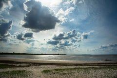 Denmark coast - dramatic sky and beach with horizon Stock Image