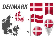DENMARK. Collection of symbols in colors national flag on various objects isolated on white background. Flag, pointer, button, stock illustration