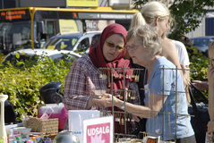 DENMARK_CONCUMMERS ΠΑΖΑΡΙΩΝ Στοκ Εικόνες