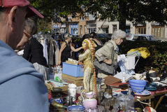 DENMARK_CONCUMMERS AT FLEA MARKET Stock Photography
