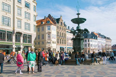 Denmark. Copenhagen. Amagertorv square and fountain Stork. Carfree zone Stroget Stock Photography