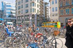 Denmark. Copenhagen. Bikes on High Bridge Square Stock Photo