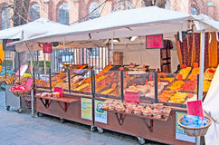 Denmark. Copenhagen. Dried fruits shop in the center of the city Stock Image