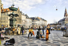 Denmark. Copenhagen. Musicians near Fountain Stork Royalty Free Stock Image
