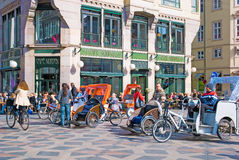 Denmark. Copenhagen. Pedicabs near Amagertorv Stock Images