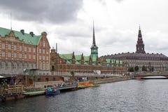 Denmark, Copenhagen, Stock Exchange an Castle Christiansborg Royalty Free Stock Photo