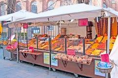 denmark copenhagen Torkade frukter shoppar i mitten av staden Fotografering för Bildbyråer