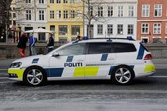 DENMARK_danish警察汽车 免版税库存图片