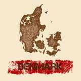 Denmark distressed map. Royalty Free Stock Image