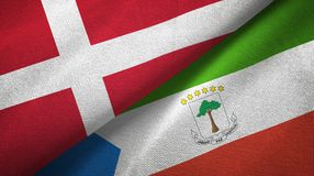 Denmark and Equatorial Guinea two flags textile cloth, fabric texture. Denmark and Equatorial Guinea two folded flags together royalty free illustration