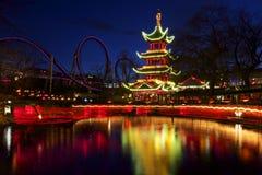 Denmark: Evening atmosphere in Tivoli Royalty Free Stock Image