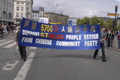 DENMARK FALUN GONG PROTEST AGAINST CHINA Royalty Free Stock Image