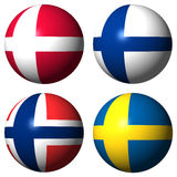 Denmark Finland Norway Sweden flags. Flag Spheres Denmark Finland Norway Sweden illustration Royalty Free Stock Photo