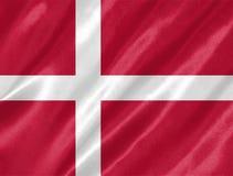 Denmark Flag. With waving on satin texture vector illustration