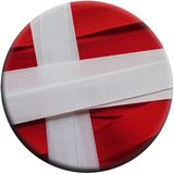 Denmark flag or banner. Made with red and white ribbons royalty free stock image