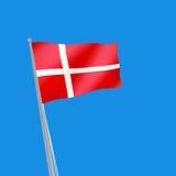 Denmark flag on blue background. 3d illustration. Image of Denmark flag on blue background. 3d illustration Stock Image