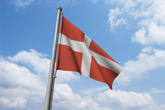 Denmark Flag with Clouds Royalty Free Stock Images