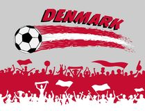 Denmark flag colors with soccer ball and Danish supporters silho. Uettes. All the objects, brush strokes and silhouettes are in different layers and the text Royalty Free Stock Photo