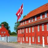 Denmark flag in Copenhagen, Denmark. Image of Denmark flag taken in its capital city Copenhagen Stock Photo