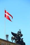 Denmark flag in Copenhagen. Image of Denmark flag taken in its capital city Copenhagen Stock Photography