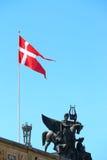 Denmark flag in Copenhagen. Image of Denmark flag taken in its capital city Copenhagen Stock Photos