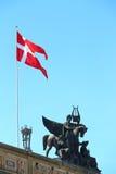 Denmark flag in Copenhagen. Image of Denmark flag taken in its capital city Copenhagen Royalty Free Stock Photos