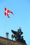 Denmark flag in Copenhagen. Image of Denmark flag taken in its capital city Copenhagen Stock Image