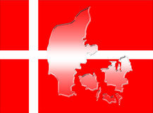 Denmark flag with country map Stock Photo