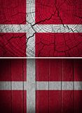 Denmark Flag. Painted on texture wooden background royalty free stock image