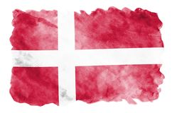 Denmark flag is depicted in liquid watercolor style isolated on white background. Careless paint shading with image of national flag. Independence Day banner royalty free stock images