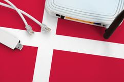 Free Denmark Flag Depicted On Table With Internet Rj45 Cable, Wireless Usb Wifi Adapter And Router. Internet Connection Concept Royalty Free Stock Image - 165869076