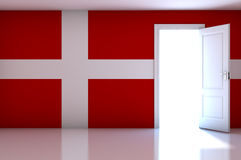 Denmark flag on empty room Royalty Free Stock Photos