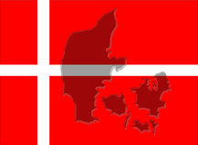 Denmark flag with map Stock Image