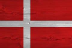 Denmark flag painted on old wood plank. Patriotic background. National flag of Denmark vector illustration